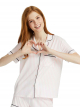 Emboidered Modal Striped Sleep Shirt